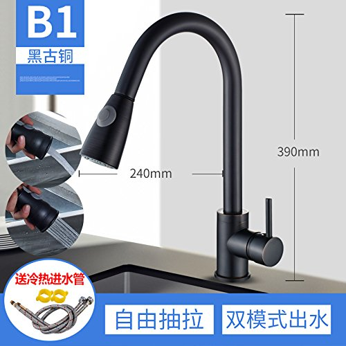 B?black Ancient Models Lpophy Bathroom Sink Mixer Taps Faucet Bath Waterfall Cold and Hot Water Tap for Washroom Bathroom and Kitchen Full Copper Wire Drawing, Hot and Cold Pullable Telescopic D, Nickel Wire Drawing