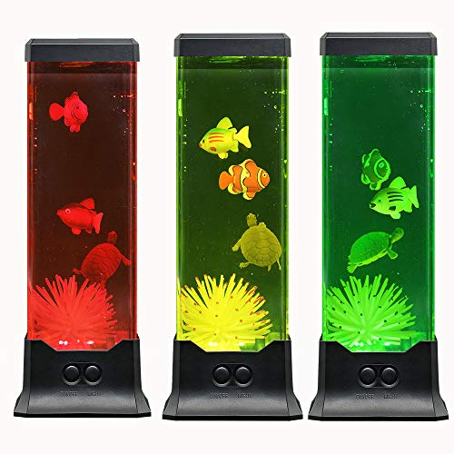 Multi Color Electric LED Lava Night Lamp- Fish Aquarium Mood Decorative Light -Fantastic Holiday Birthday Gift for Kids Family Friend her or -