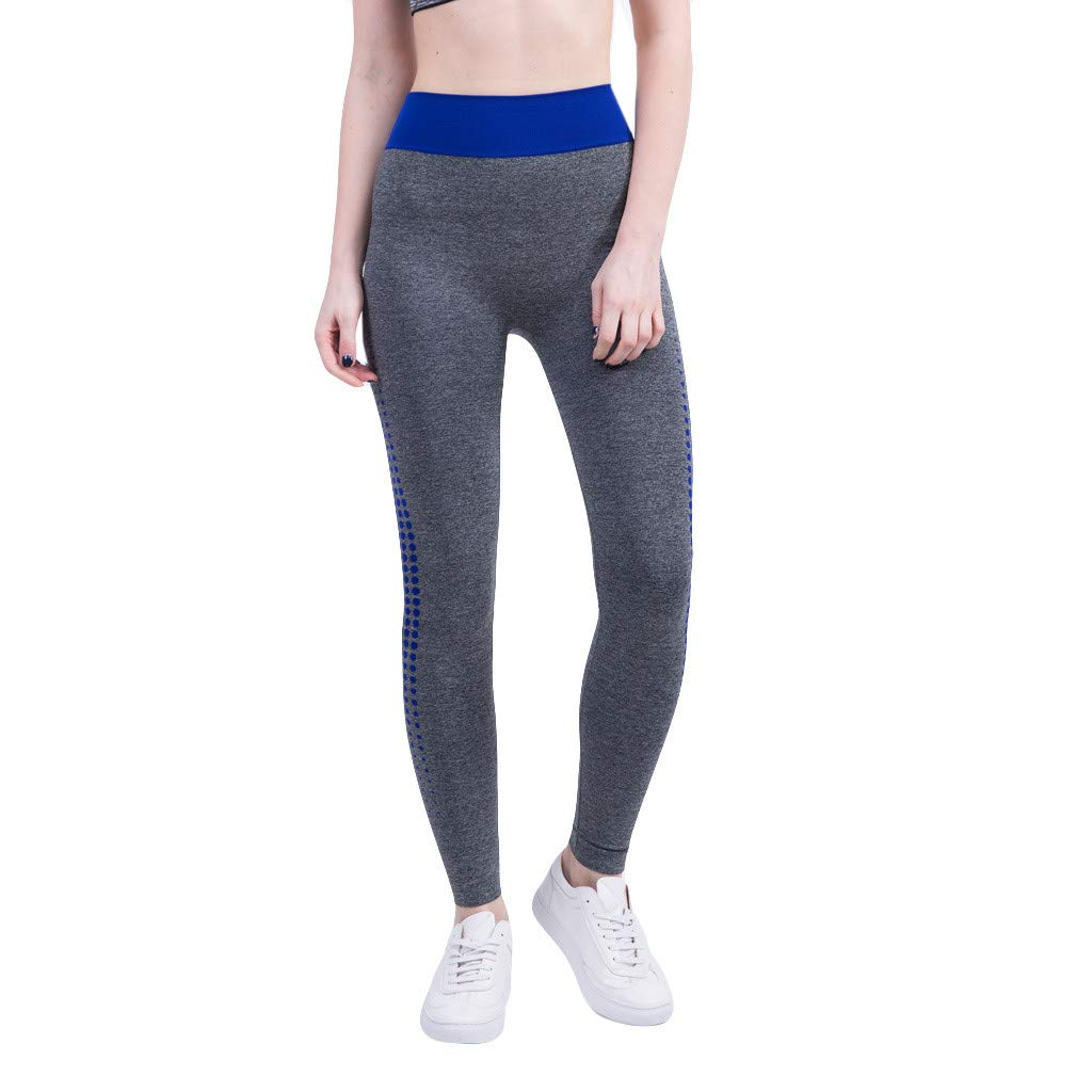 Kaicran Women's Sports Running Yoga Pants Colorblock Comfy Sweat-Absorbent Fitness Tight Pants Leggings (S, Blue)