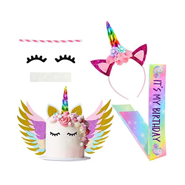 Unicorn Birthday Girl Set, Beinou Shiny Unicorn Headband and Birthday Girl Sash Set Perfect Unicorn Birthday Party Supplies 3