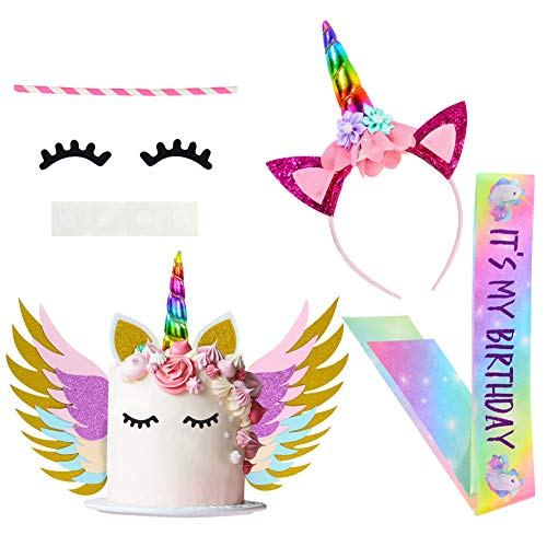 - Beinou Unicorn Birthday Party Supplies Favor Set, Unicorn Cake Topper Decor, Rainbow Unicorn Headband with birthday Satin Sash for Kids' Birthday Party Favor Sets