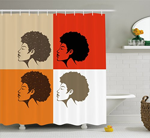 Lunarable Afro Shower Curtain, African American Natural Hairline Pop Art Style Ethnicity Woman Silhouette Portrait, Fabric Bathroom Decor Set with Hooks, 84 Inches Extra Long, Multicolor