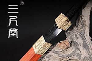 Collection sword Chinese Han Dynasty Sword Fully Hand-made Damascus Folded Steel Full tang Blade Sword Home Decoration