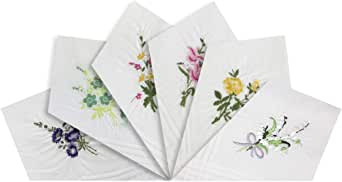 Warwick & Vance Pack Of 6 Womens/Ladies White Handkerchiefs, Floral Embroidered Collection With Satin Stripe Borders, 100% Cotton, 29 x 29cm