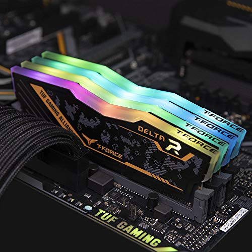 TEAMGROUP T-Force Delta TUF DDR4 16GB (2x8GB) 2666MHz (PC4-21300) CL18 Desktop Memory Module ram - TF9D416G2666HC18HDC01 - (TUF Alliance RGB Module)