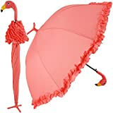GiftCraft Pink Flamingo Full-Size Standing Parasol Umbrella for Rain of Shine