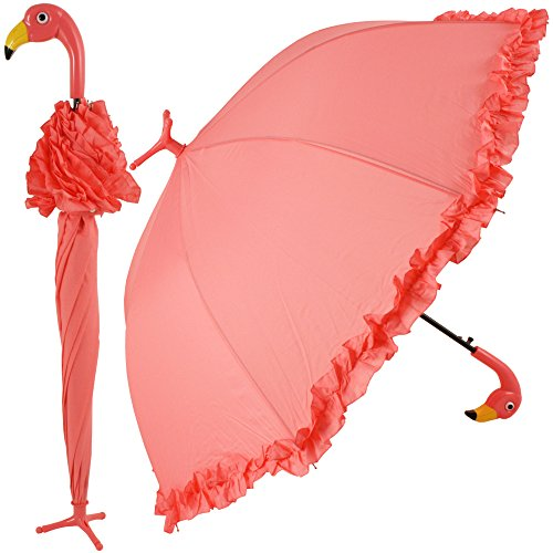 GiftCraft Pink Flamingo Full-Size Standing Parasol Umbrella for Rain of (Shine Stick)