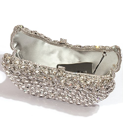 Crystal Bags Digabi women Silver Wings Clutch Purses Evening Rhinestone Big fqCOfwrRH