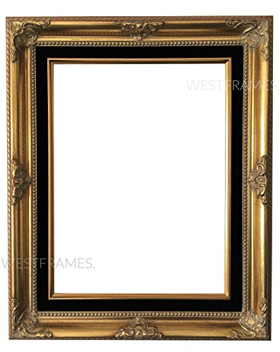 West Frames Estelle Antique Gold Leaf Wood Picture Frame with Black Velveteen Liner (11 x 14) (Antique Gilded Frames)