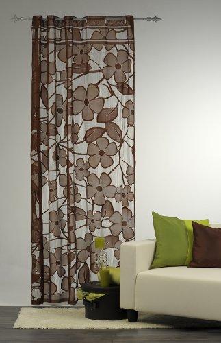 Fae Vorhang Gardine mit Stangendurchzug Blume 140x235cm braun ...