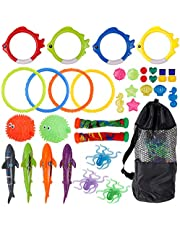 Joyhoop 35pcs Diving Pool Toys for Kids, Underwater Swimming Toys with Diving Ring,Diving Stick,Shark Torpedo,Fish-Shaped Rings and Storage Bag, for Toddler Boys Girls Summer Gifts