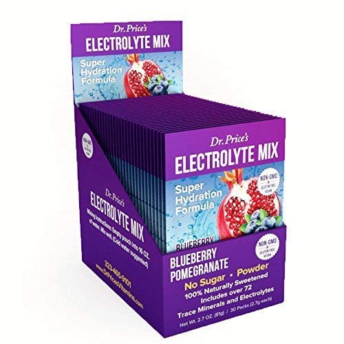 Electrolyte Mix Super Hydration Formula + Trace Minerals | New! Blueberry-Pomegranate Flavor (30 Powder Packets) Sports Drink Mix | Dr. Price's Vitamins | No Sugar, Non-GMO, Gluten Free & Vegan (Best Drink For Electrolyte Imbalance)