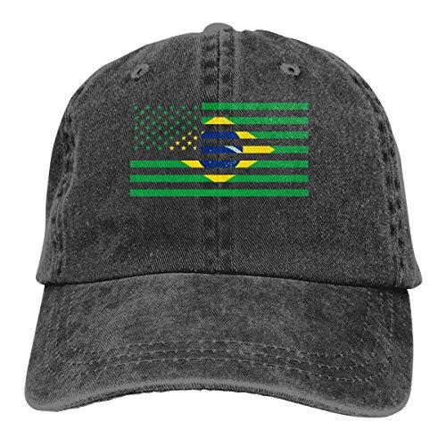 WAYOULUCK Men's Women's Adjustable Baseball Cap American Brazil Flag Trucker Hat