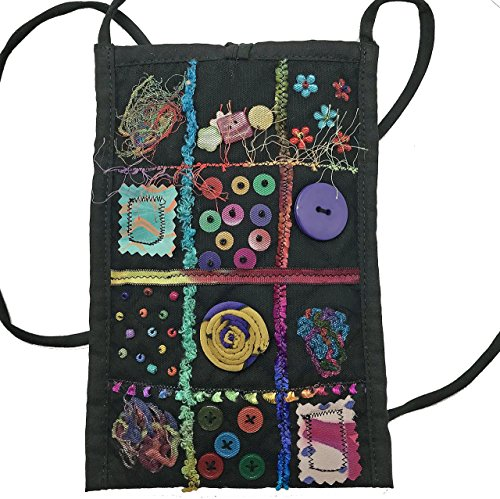 - Women's Handmade Recycled Cross Body Cell Phone bag - Tulle Window Pane with Trinkets - LRW Designs