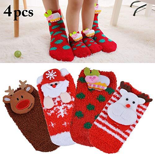 Baby Christmas Socks,Aniwon 4 Pairs Christmas Kids Socks Cartoon Thickened Fuzzy Socks Cotton Socks for Kids