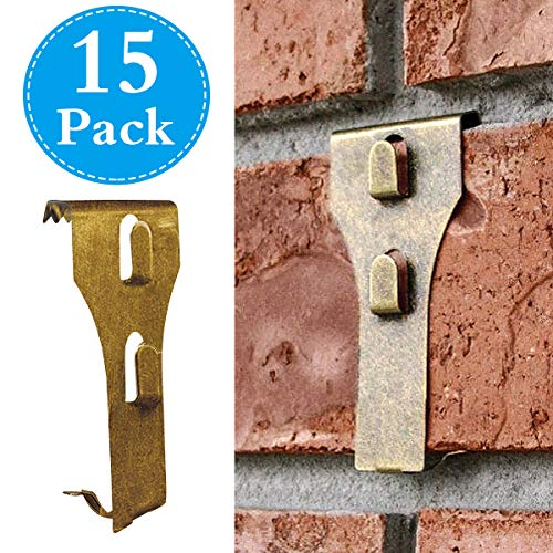 Brick Clips for Hanging Outdoors, Spring Steel Hooks Wall Picture Wreath Lights Hangers Fastener Fits Brick 2 1/4 to 2 3/8 in Height 15 Pack ()