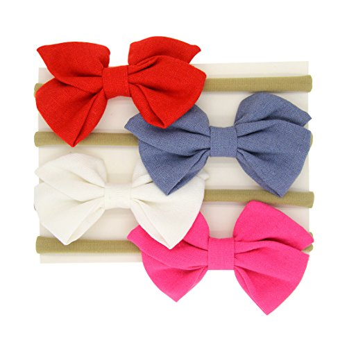 Baby Girl Bow Headband Toddle Nylon Stretchy Hair Accessories Photography Prop (Bow Pull Some)