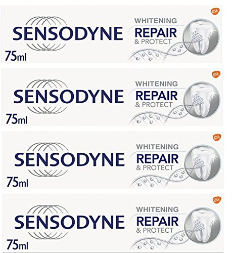 Sensodyne Repair & Protect Whitening Toothpaste - Powered by NOVAMIN - 75ml - Pack of 4 (Uk Toothpaste)