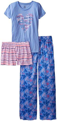 Calvin Klein Big Girls' 3 Piece Butterfly Sleep Set, Blue, Large/14-16
