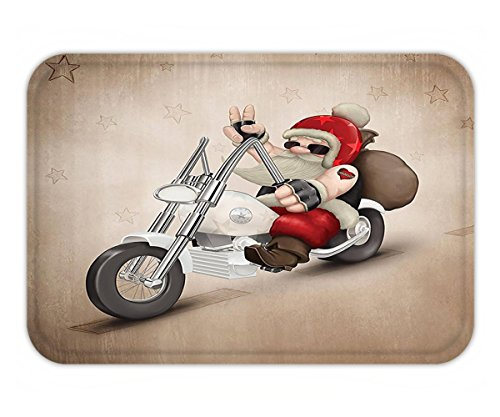 Minicoso Doormat Christmas Decorations Rock Grunge Cool Santa with Heart Tattoo on Motorbike for Delivery Bikie Peace Decor Red Cream