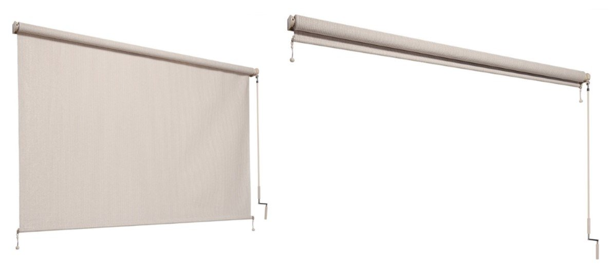 Coolaroo Outdoor Cordless Roller Shade 6ft by 8ft Pebble Gale Pacific USA Inc. 474829