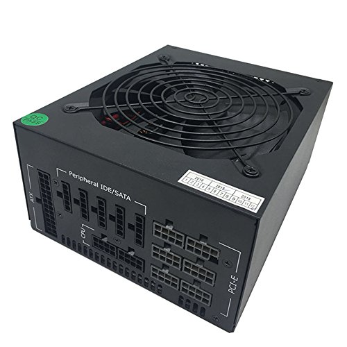 1600W Modular Mining Power Supply GPU For Bitcoin Miner Eth Rig S7 S9 L3+ D3 Supports 6 Graphics Overclocking 90+ Gold 24PIN US