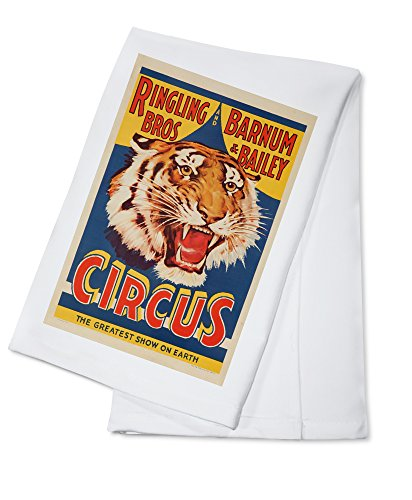 [Ringling Bros and Barnum and Bailey Circus (tiger head) Vintage Poster USA (100% Cotton Absorbent Kitchen Towel)] (Bro Kitchen)