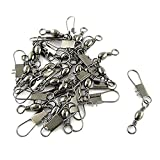 SODIAL(R) Grey Fishing Line to Hook Clip Connector Swivels 20PCS