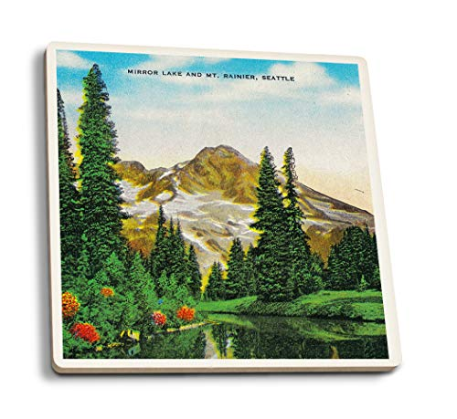 Lantern Press Mirror Lake and Mt. Rainier (Set of 4 Ceramic Coasters - Cork-Backed, Absorbent)