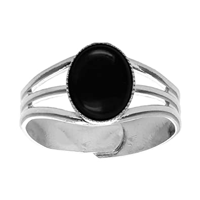 10x8mm Oval Genuine Black Onyx Cabochon Silver Plated Adjustable / Expandable Ring sGJncmM