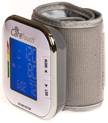 "51rByeuTIsL - Care Touch Fully Automatic Wrist Blood Pressure Cuff Monitor - Platinum Series, 5.5"" - 8.5"" Cuff Size- Batteries Included"