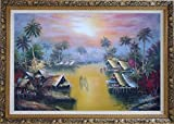 Framed Oil Painting 24''x36'' Hawaii Water Village Thatching Houses at Sunset Naturalism Ornate Frame