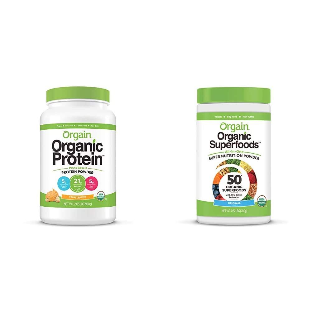 Orgain Organic Plant Based Protein Powder, Peanut Butter - Vegan, Low Net Carbs, 2.03 Pound & Organic Green Superfoods Powder, Original - Antioxidants, 1 Billion Probiotics, Vegan, 0.62 Pound