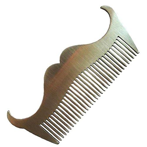 Hot Stainless Steel Beard Comb Mustache Shape Metal AntiStatic Hair Brush Free - For Beard Square Shape Face