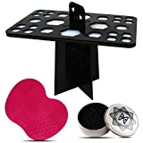 Makeup Brush Drying Rack, 26 Holes Folding Brush Holder Brush Cleaning Mat and Color Removal Sponge Makeup Brush Cleaning Tool by MAANGE