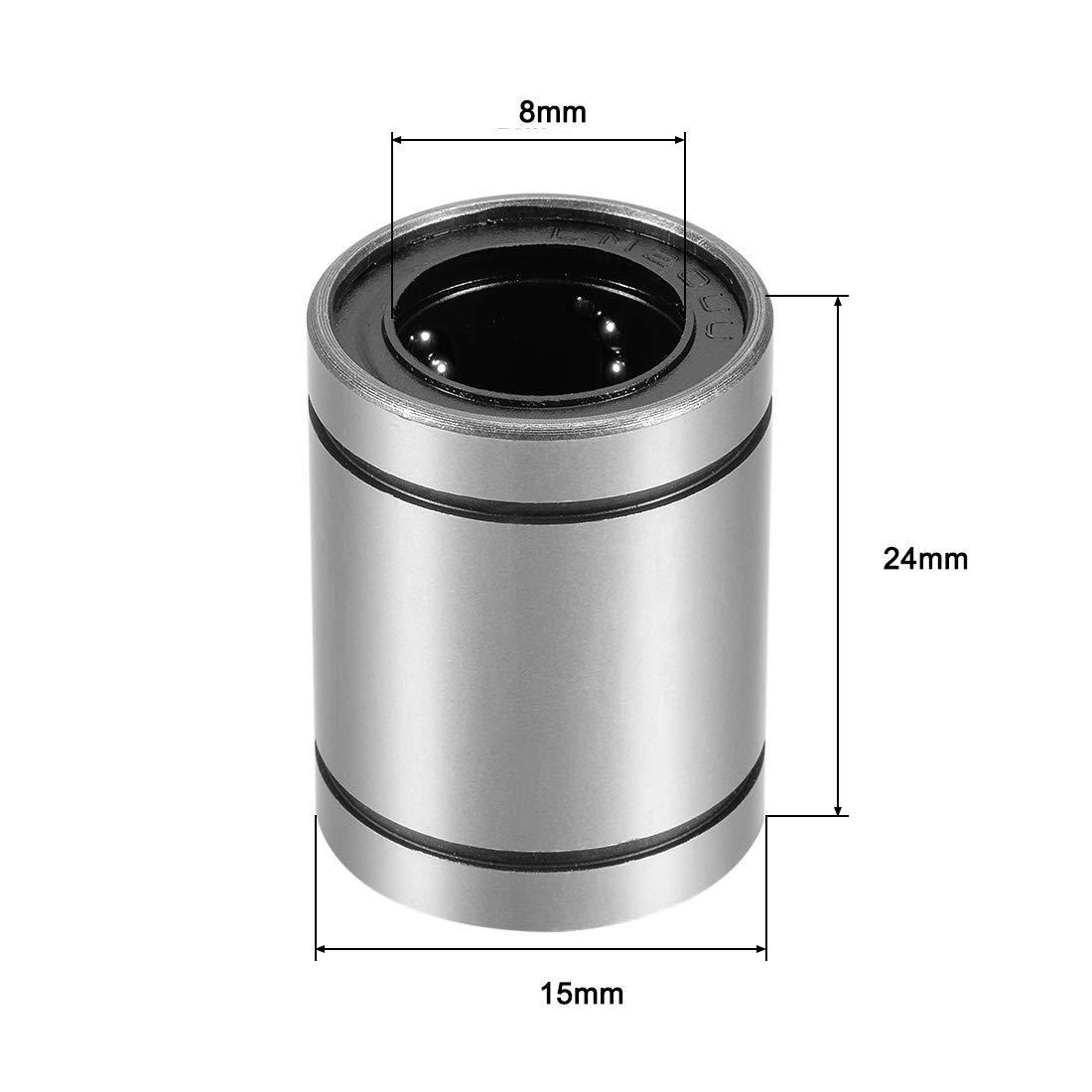 Gekufa LM8UU Linear Ball Bearing Bush Bushing Fit for 8mm Rod Reprap Prusa 3D Printer Pack of 12