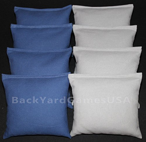 BackYardGamesUSA Set of 8 CORNHOLE BAGS PICK YOUR 2 COLORS! Regulation Size Handmade! (Royal Blue/Gray) by BackYardGamesUSA