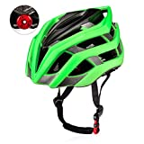 KUYOU Adult Cycling Bike Helmet with Safety Light Adjustable Ultralight Stable Road/Mountain Bike Cycle Helmets For Mens Womens Adjustable 56cm – 61cm Green For Sale