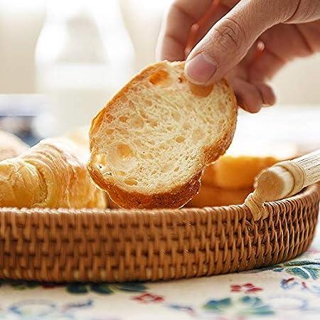 DOKOT Cestino per Pane Rotondo Vassoio per Vimini in Rattan con Manici per Merendina per Dolci da t/è per Tavolino e Sgabelli 28cm