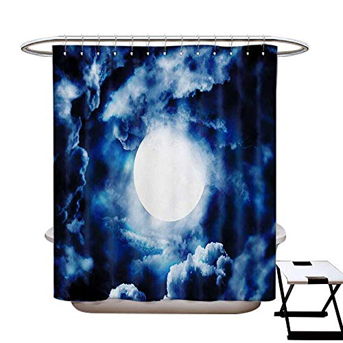 (Space Shower Curtains Digital Printing Moon on Sky Surrounded by Storm Clouds Lunar Magic Dark Twilight Dawn Foggy Hallows Image Satin Fabric Bathroom Washable W72 x L72 Blue)