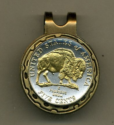 - Gorgeous 2-Toned Gold on Silver New Bison nickel - Golf Ball Marker - Hat Clips