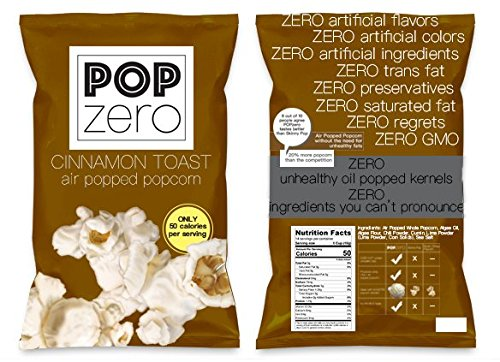 Pop Zero Cinnamon Toast Popcorn Bulk Party Packs - 9 Large Bags ( 6 oz each) of Movie Theater Butter and Cinnamon Flavored Gourmet Popcorn - Light and Healthy Non GMO Air Popped Kernels …