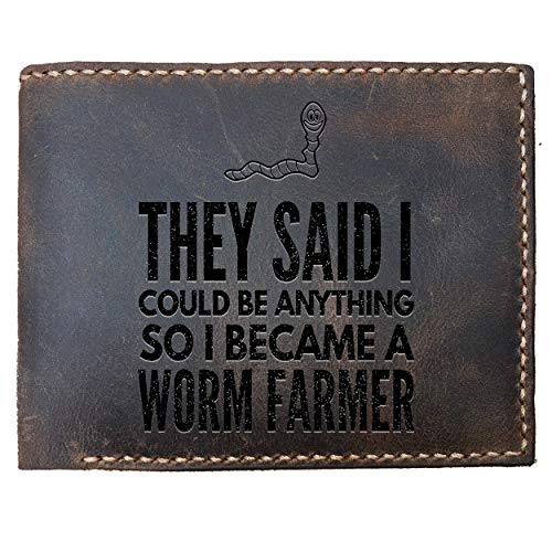(Max&Mori Custom Laser Engraved Leather Bifold Wallet for Men,Worm Farm Funny Idea For Farmers Gift For Father Son, Husband Or Friends Who Is Farmer On Birthday Christmas Labor Day)