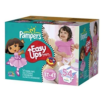 Pampers Easy Ups Girl Trainers Big Pack, Size 5 S3t/4t, 54 Count