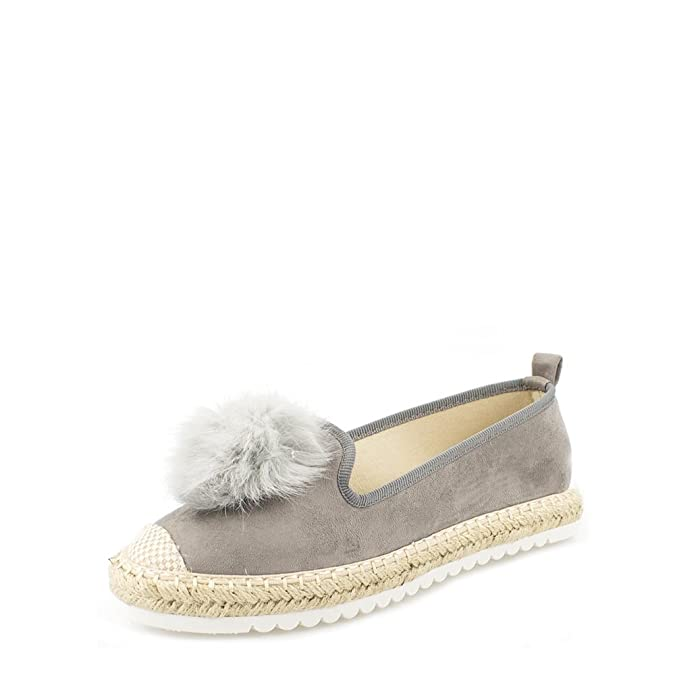 720e8c5a2 Sandi Ladies Women Flat Slip On Pom Pom Espadrille Pump 3 GREY SUEDETTE:  Amazon.co.uk: Shoes & Bags