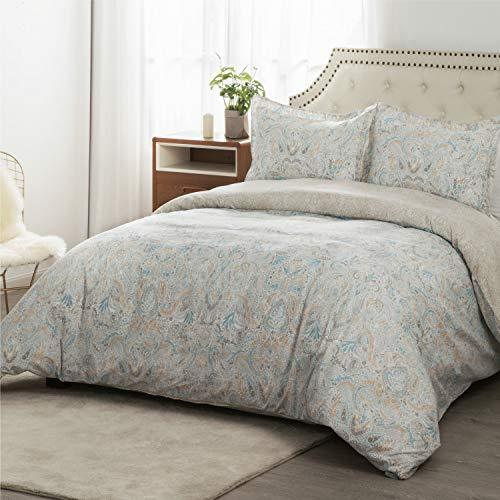 Bedsure 100% Cotton Duvet Cover Set King Size (104x90 inches) - Vintage Paisley - 3 Pieces (1 Duvet Cover + 2 Pillow Shams), Natural Color/Khaki - Duvet Covers with Zipper Closure, Corner Ties