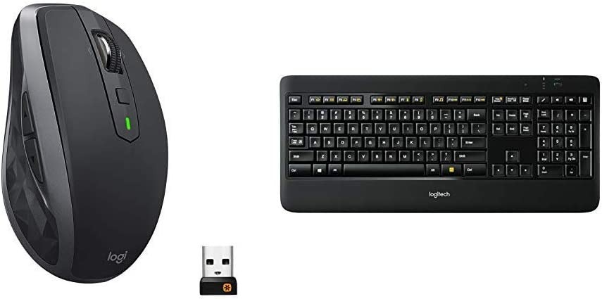Logitech MX Anywhere 2S Wireless Mouse (Bluetooth or USB), Graphite & K800 Wireless Illuminated Keyboard
