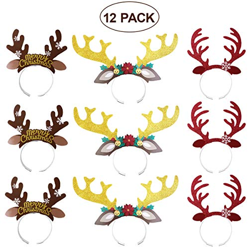 BESTOYARD 12PCS Cute Reindeer Antlers Headband Hair Hoop with Ears Headwear Accessories Halloween Christmas Birthday Gift for Children]()