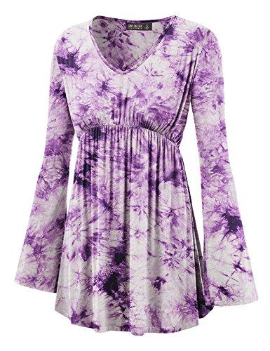 Lock and Love WT1160 Womens Tie-Dye Long Sleeve Empire Waist Line Tunic Top M ()