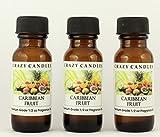 Caribbean Fruit 3 Bottles 1/2 FL Oz Each (15ml) Premium Grade Scented Fragrance Oil by Crazy Candles